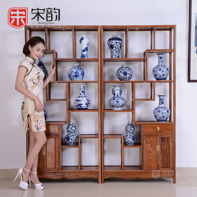 Song Yun Chinese Mahogany Furniture Living Room Shelf Real Wood Partition Antique Antique Curio Cabinet Frame Factory Direct Sal