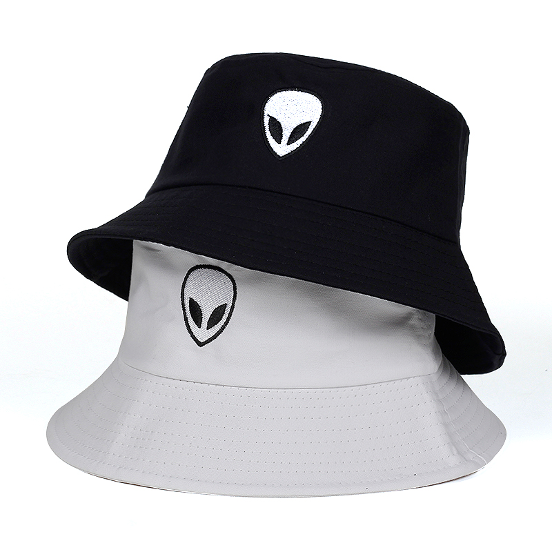 278b2e69a0a323 2018 black white solid Alien Bucket Hat Unisex Bob Caps Hip Hop Gorros Men  women Summer Panama Cap Beach Sun Fishing boonie Hats