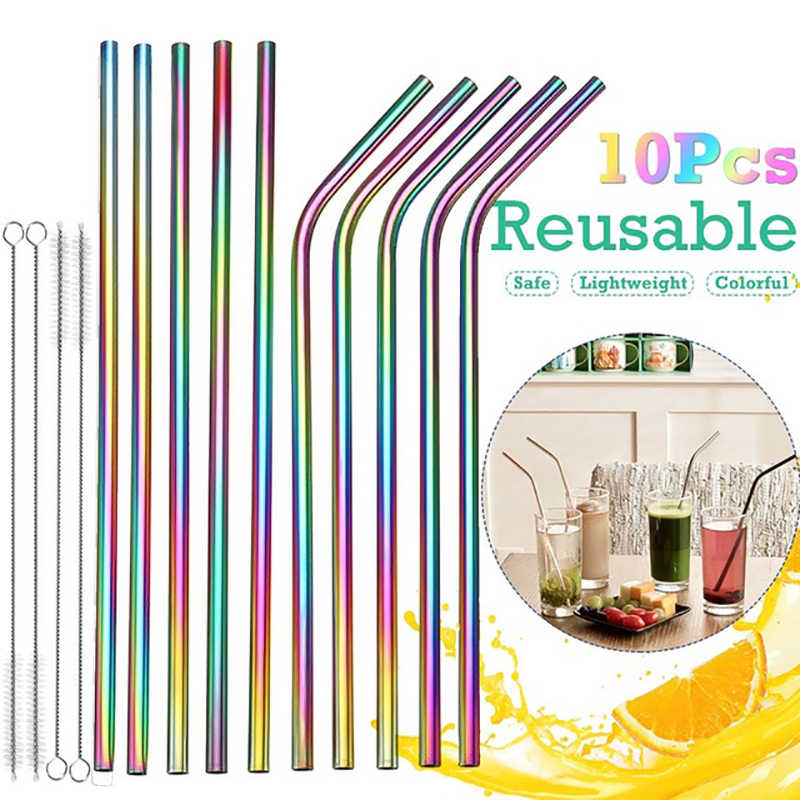 Reusable Drinking Straw for Bar High Quality 304 Stainless Steel Metal Straw Cleaning Brush 1pc