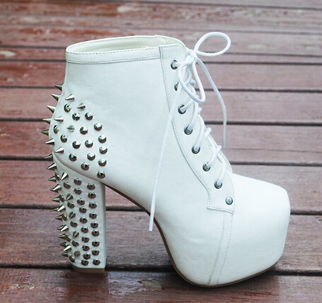 42f1e642a004 274 pcs Rivets Punk Shoes Woman Studded Women Motorcyle Boots Platform High  heeled Ankle Boots JC Shoes Chunky Heels Ladies -in Ankle Boots from Shoes  on ...