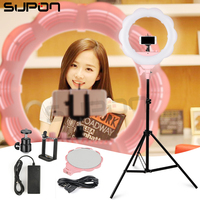 SUPON LED Camera Selfie Ring light Video/Photo/Phone SL 107 Pink Panel Lamp 3200 5500K for iPhone 6 Studio Photographic Lighting