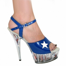 Star fan stage shoes, 15CM high heel sandals, hollowed-out Cinderella princess Dance Shoes