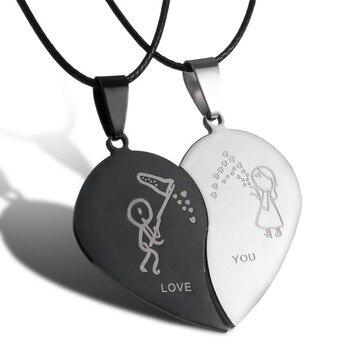 Couples Bijoux Coeur Brisé Colliers Noir Couple Collier En Acier Inoxydable Graver Amour Vous Pendentifs Collier
