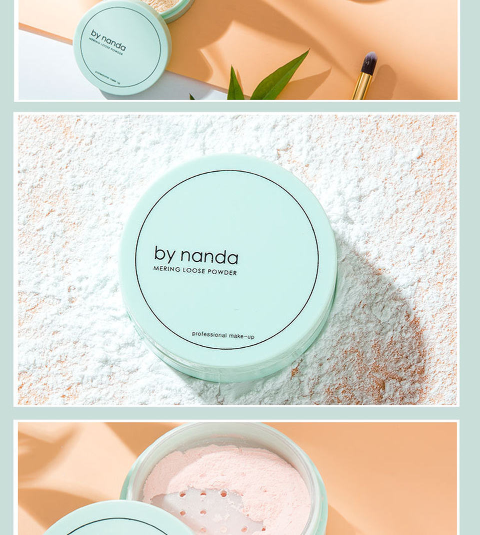 BY NANDA 3 Color Translucent Pressed Powder With Puff Smooth Face Makeup Foundation Waterproof Loose Powder 12