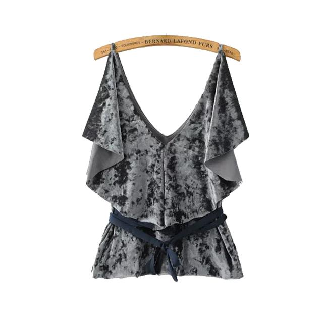 Europa en el otoño de 2016 nueva moda flounce tie cintura con cuello en V sling abrigo de terciopelo del todo-fósforo femenino