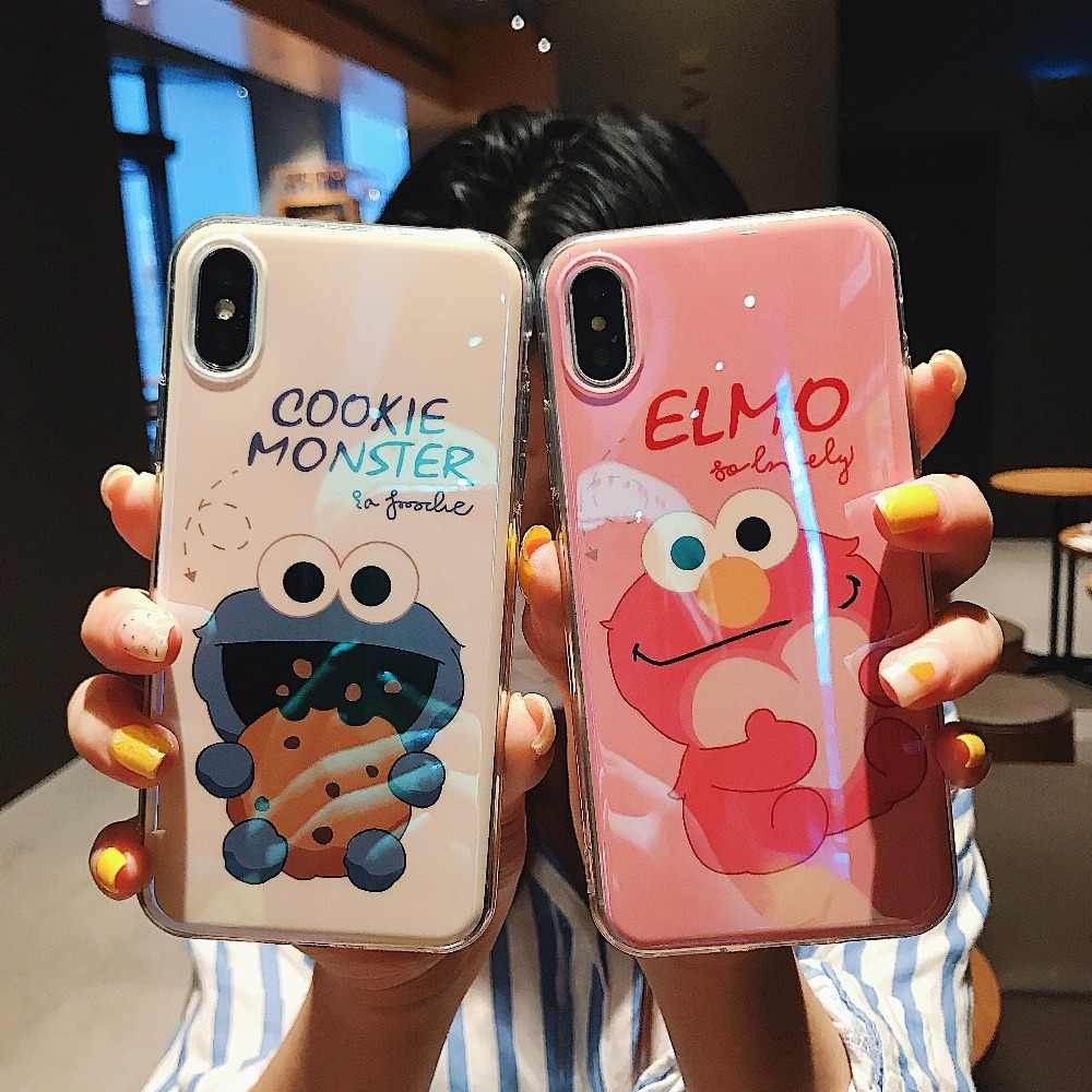 Elmo Cookie Monsters Puppet Case For iPhone XS Max XR X Soft TPU Silicone Cute Couple Case Covers For iPhone 6 6S 7 8 Plus Cases