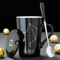 12 Constellations Creative Tasses En Céramique avec Cuillère Couvercle Noir et Or Zodiaque Porcelaine Lait Café Tasse 420 ML D'eau Verres