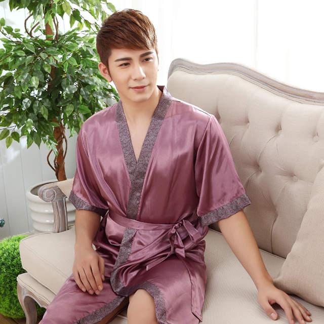 placeholder Vintage Men Satin Kimono Bath Robe Sexy Unisex Printed Night  Gown Sleepwear Chinese Style Vintage Nightwear 035bcc26a