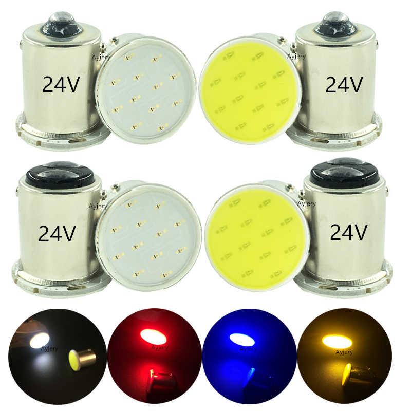 Ayjery 1Pcs Ba15s COB P21w LED 12 SMD 1156 24V 1157 Lampu Truk Trailer RV Lampu Interior 1073 parkir Lampu Mobil Otomatis SUPER PUTIH