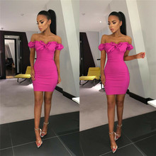 Womens Strapless Dress Off Shoulder Bow Party Cocktail Club Wear Ladies Sexy Red Tight Pencil Mini