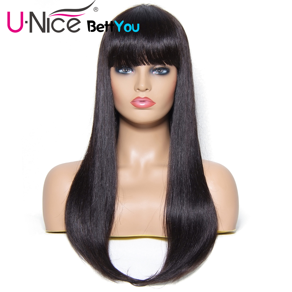 Unice Hair Bettyou Wig Series Long Straight Hair Wigs 100% Brazilian Remy Human Hair Wigs With Bang Natural Color 22 Inch