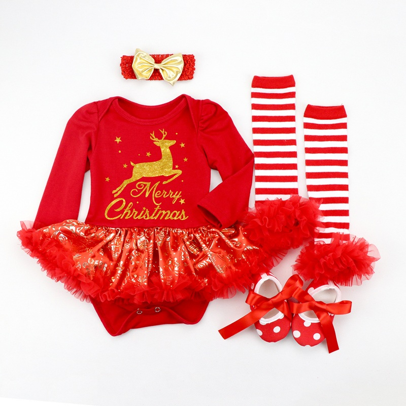 Image 4 - Infant Clothing Set Girls Cutest Deer Outfits Baby Christmas Boutique Clothes Red Bling bling Tutu Dress 4pcs set With Headband-in Dresses from Mother & Kids