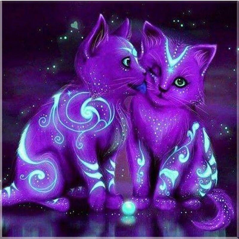 diamond embroidery,5d, diy,diamond painting,cross stitch,Animal,purple,cat,picture,diamond mosaic,children room decoration,gift