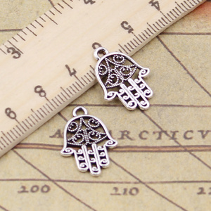 20pcs/lots Charms Hamsa Palm Fatima Hand Protection 20x15mm Antique Silver Color Pendants Making DIY Handmade Tibetan Finding(China)