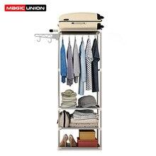 Magie Union Einfache Mobile Mantel Rack Boden Kleiderbügel Kleidung Rack DIY Montage Mantel Rack Schlafzimmer Regal Foyer Lagerung Eisen Kleiderbügel