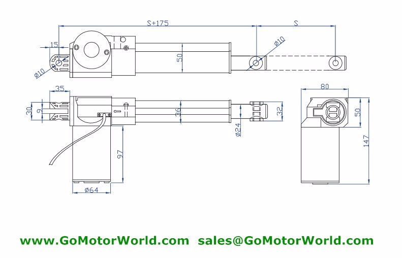 LA21 24V Linear actuator drawing