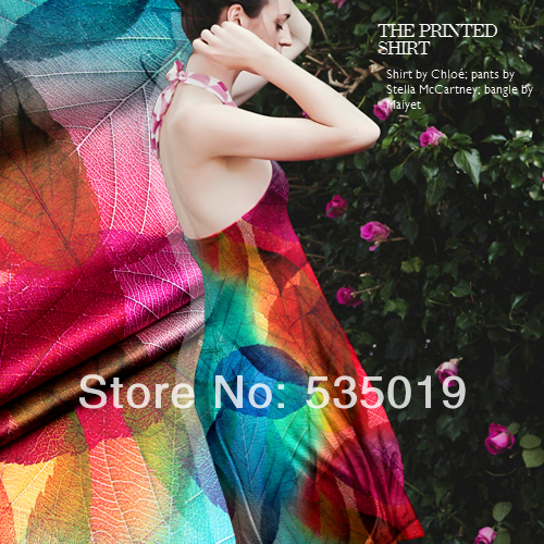 Free Digital Heavy 19mm Silk Elastic Satin fabric Material Clothes Leaves Prints Silk Fabric Wholesale And Retail telas