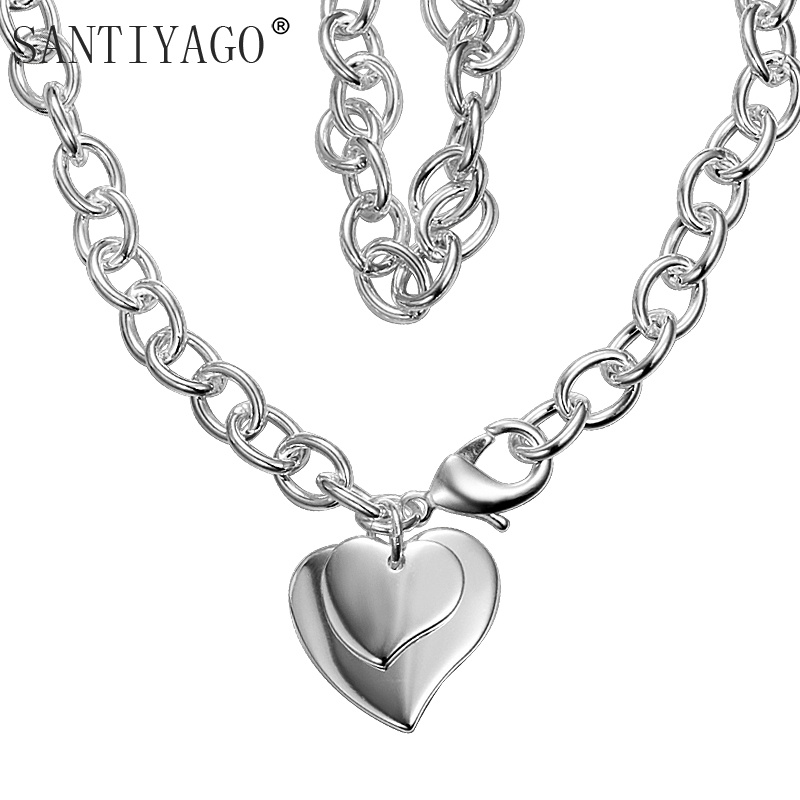 Love Statement Pendant Necklace Charm Necklaces & Pendants for Women Silver Color Heart Chorkers Jewelry