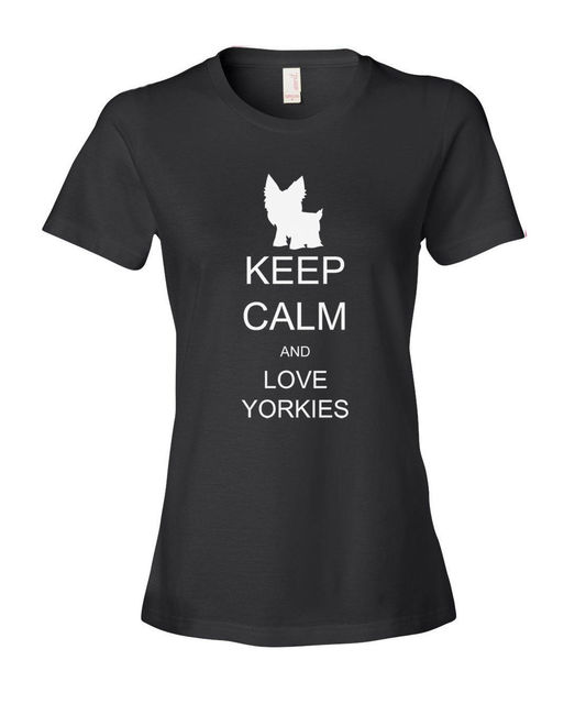 2017 Fashion Slim Fit Keep Calm and Love Yorkies Mujeres Señoras del Ajuste de La Moda T-Shirt Camisa de La Tapa