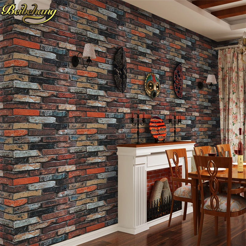 beibehang Vintage Brick Wallpaper for walls 3 d Rustic Brick Texture Vinyl Roll Backdrop Decoration papel de parede3d Wall Paper snow background wall papel de parede restaurant clubs ktv bar wall paper roll new design texture special style house decoration
