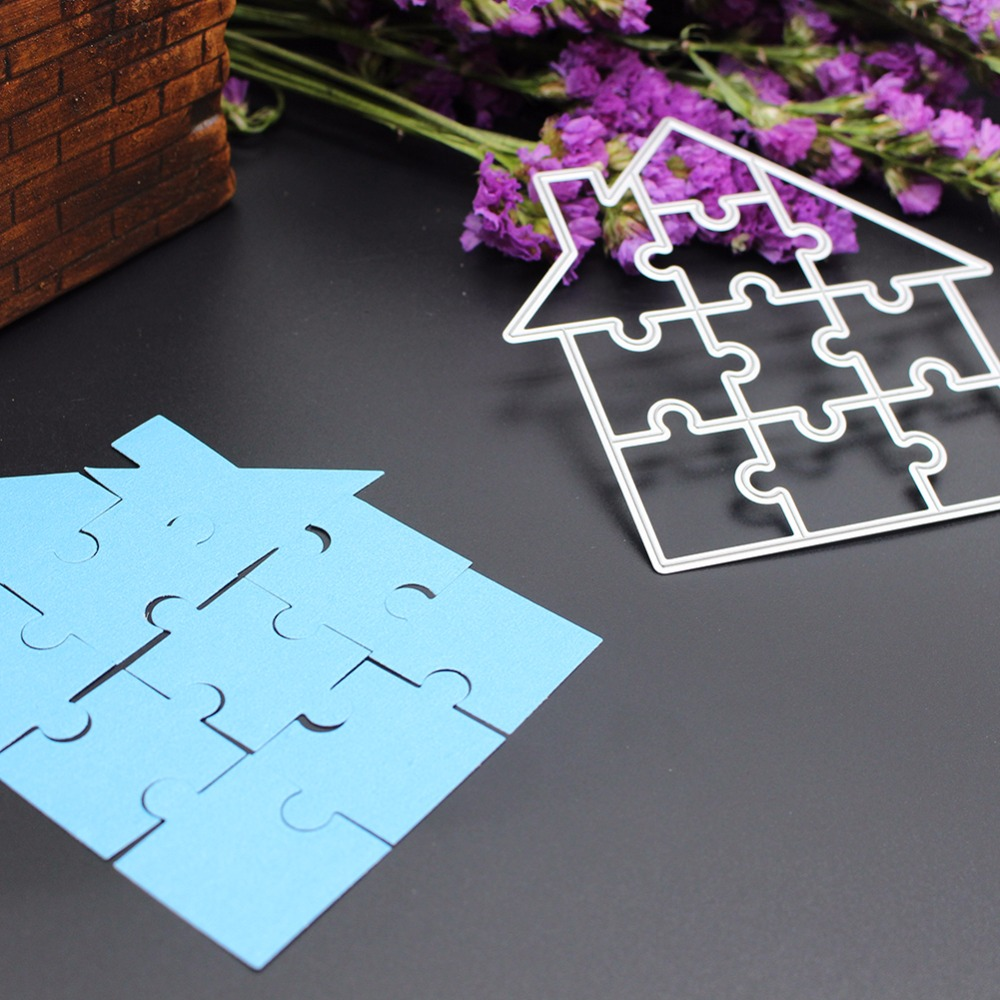 Puzzle House Metal Cutting Die Cutting Dies Scrapbooking Embossing Folder Suit for Big Shot Cutting Machine Album Cards Decor