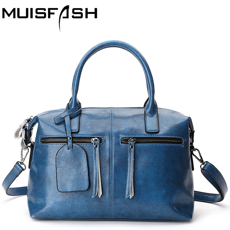 Muisfash real leather bag designer women bags good quality female shoulder bag new ladies bolsas boston messenger bags LS1304 leftside fashionable 2017 women tassel designer rivet boston bag female handbag woman hand bags shoulder bag with wide strap