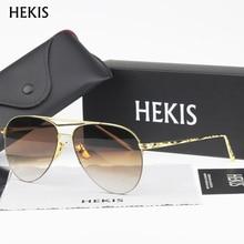 HEKIS Brand Fashion Sun Glasses Gradient Color Coating Mirror Sunglasses Male Oculos Masculino For Men Women B2735