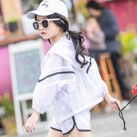 Girls Clothes Sets Summer 2019 Kids Clothes Girls Sets Teens 3pcs Set Sun Protection Clothing Jackets + Striped T shirt + Shorts