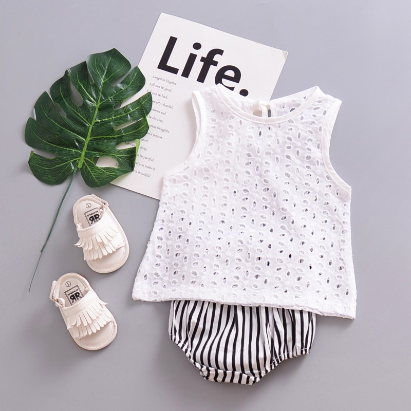 Fashion Baby Cute Baby Sleeveless Tops T-shirt Lace Outfits Arrival Newborn Cotton T-shirt White New Blouse Girl Hollow