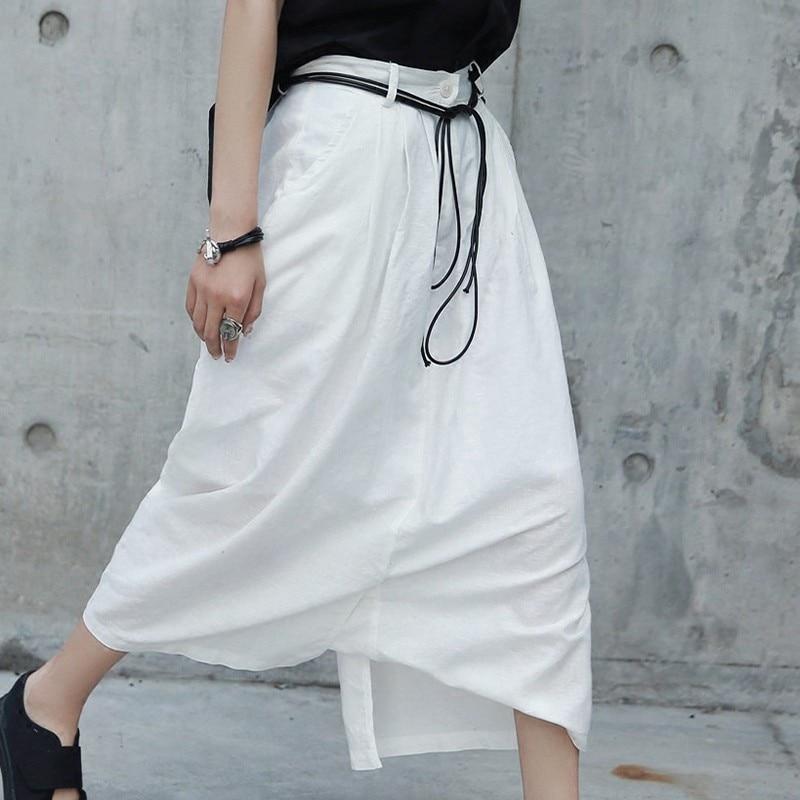 HTB1VoqqzFuWBuNjSszbq6AS7FXah - [EAM] 2019 New Spring White Cotton Linen Women Fashion Tide Circular Irregular Split Loose Casual  Cross-pants LA456