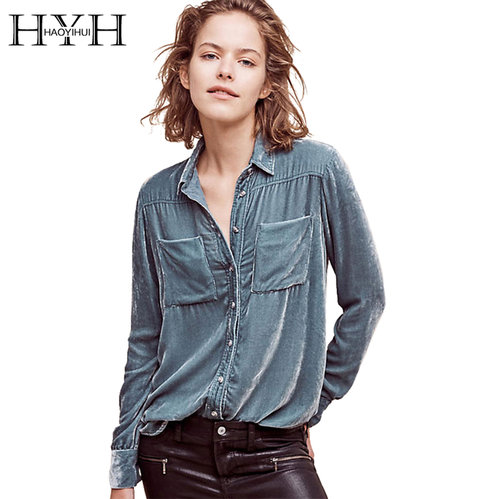 HYH HAOYIHUI Solid Blue Women Blouse Turn-down Collar Long Sleeve Single  Breasted Tops Pocket