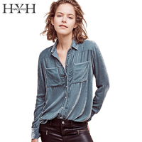HYH HAOYIHUI Solid Blue Women Blouse Turn Down Collar Long Sleeve Single Breasted Tops Pocket Casual