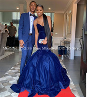 Royal Blue Velvet Long African Prom Dresses 2019 Sexy Backless Formal Evening Party robe de soiree Formal Special Occasion Gowns