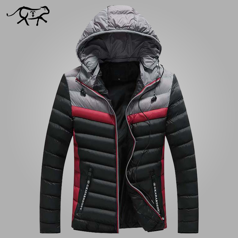 X-Future Mens Casual Hooded Warm Thicken Fleece Lined Patchwork Faux Fur Collar Down Jacket
