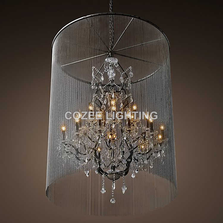 Vintage Candle Chandeliers Lighting Aluminum Chain Crystal Chandelier Hanging Light for Home Living and Dining Room Decoration