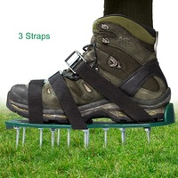Lawn Aerator Shoes w/Metal Buckles and 3 Straps Heavy Duty Spiked Sandals for Aerating Your Lawn or Yard