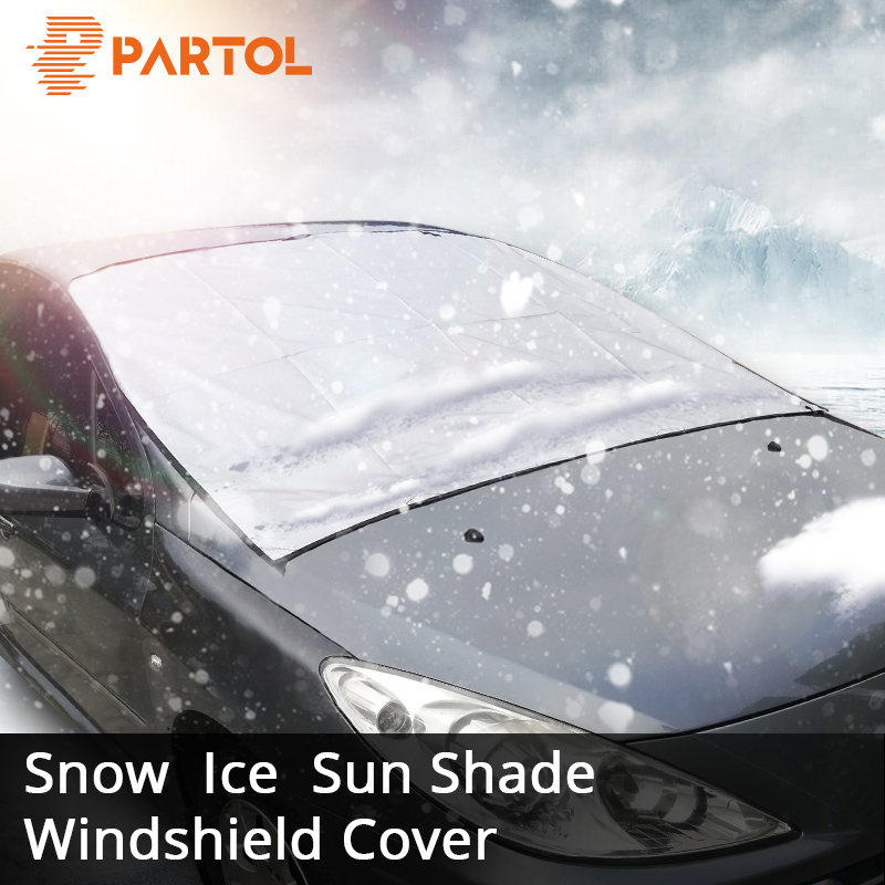 Partol Universal Fit Automobile Sunshade Cover Snow Ice Shield for Windshield Winter Summer Car Front Window Windscreen Covers auto car windscreen snow ice frost windshield roof covers protector 610025