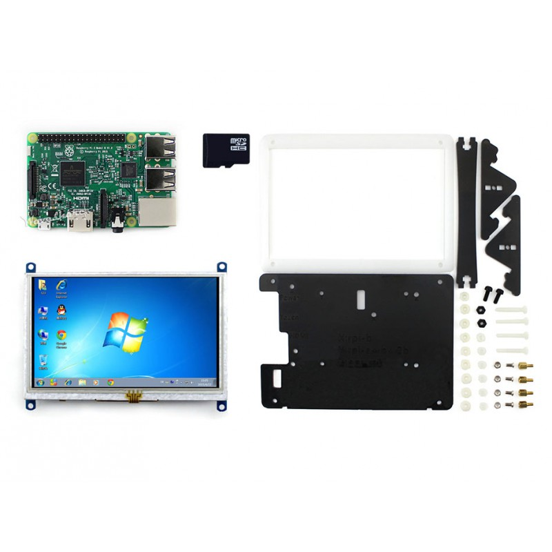 Waveshare RPi3 B Package E including mini PC Raspberry Pi 3 Model B + 5inch HDMI LCD (B) + Bicolor case + 16GB Micro SD card цена