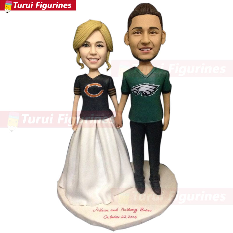 new arrival 1b658 de8ac US $156.75 5% OFF|Chicago Bears Philadelphia Eagles Fan Personalized  Wedding Cake Topper Custom Bobble Head Figurine Based on Customers'  Photos-in ...