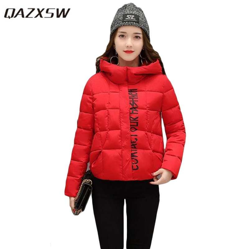 QAZXSW 2017 Women's Winter Jackets Letter Cotton Padded Short Hooded Parkas For Woman Warm Jacket Outwear Jaqueta Feminina HB069 qazxsw 2017 woman winter coats hooded jacket thick long parkas for girl outwear jacket woman cotton coats jaqueta feminina hb229