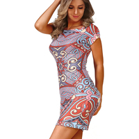 Goddess Summer Fashion Women Clohing Sexy Pencil Dress Print Short Sleeve O Neck Sheath Dress Bodycon