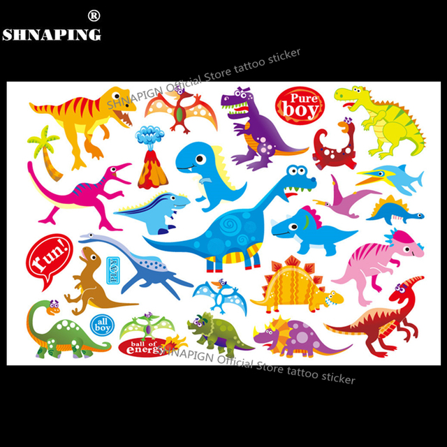 SHNAPIGN Jurassic Dinosaur Child Temporary Tattoo Body Art Flash Tattoo Stickers 17x10cm Waterproof Styling Henna Tatoo Sticker