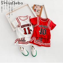 Baby Sports Two Pieces Suit Baby Boys Girls Sets With Alphabet Printed Basketball Clothes Infants Toddler Summer 2PCS Letter Set недорого