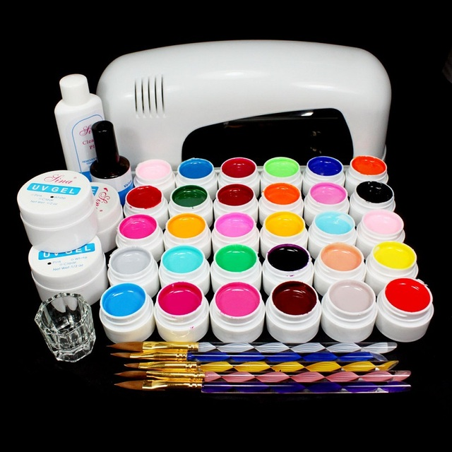 High quality PRO 9W White UV Lamp 30 Colors Pure UV GEL Acrylic Brush Nail Art Kits BTT-117 free shipping