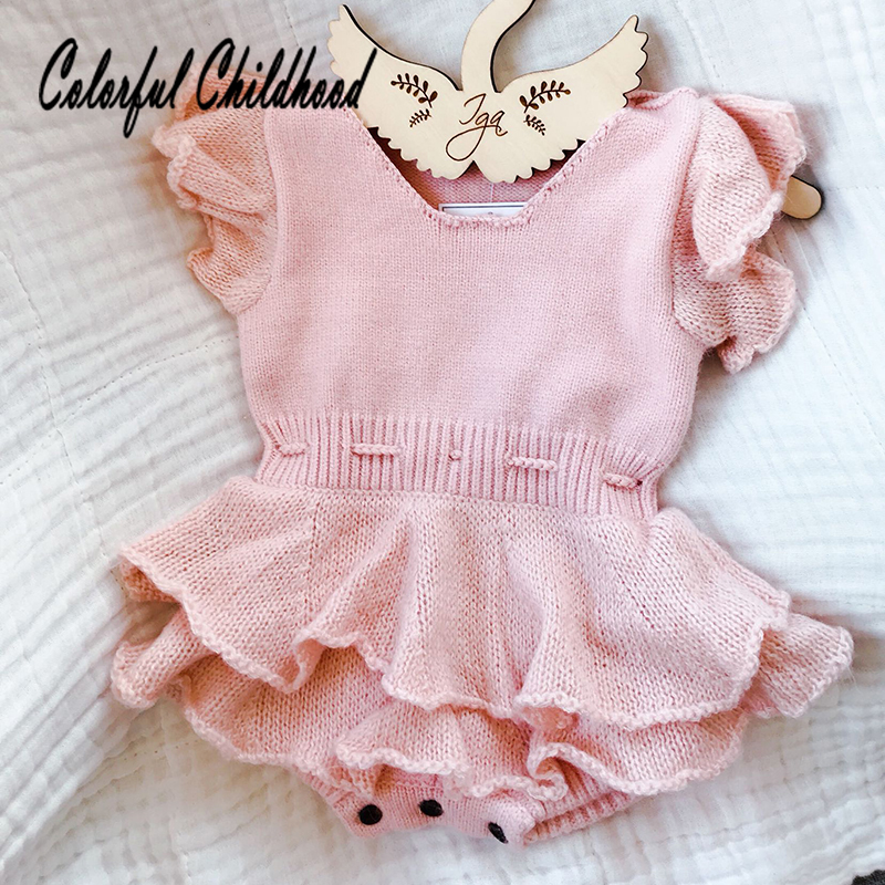 Girl's Rompers Fly Sleeve Vest Wool Knitted Rompers Baby Princess Triangle Jumpsuit Toddler Kid's Autumn Winter Clothing 0-24m