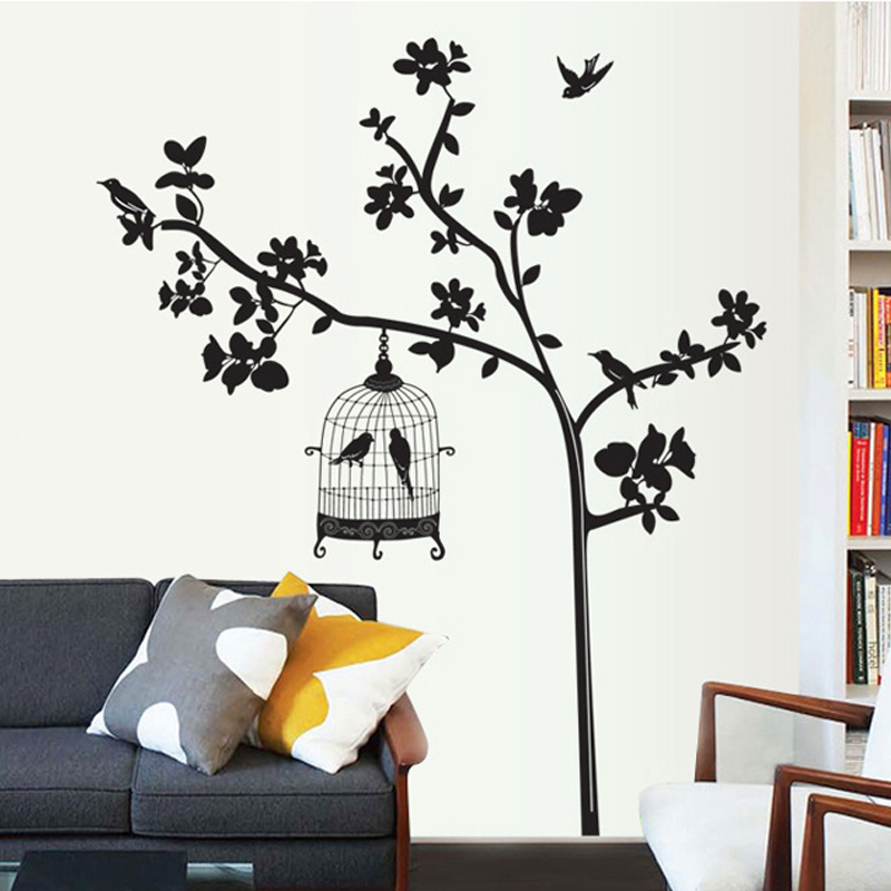 Black leaves tree birds wall decal home sticker paper removable art picture murals diy stick kids nursery baby room decoration in wall stickers from home