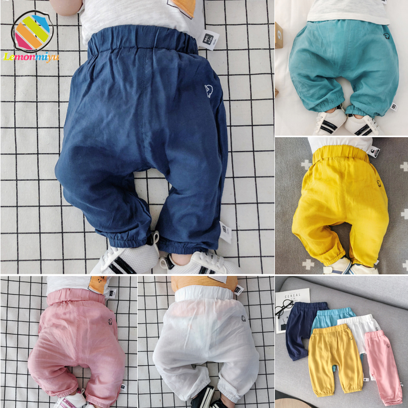 Lemonmiyu Summer Thin Baby Full Length Pants Cotton Toddler Candy Color Harem Pants Newborn Solid Trousers Loose Elastic Pants candy color slim casual pants