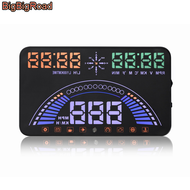 BigBigRoad 5.8 inch Car HUD Head Up Display OBD 2 +GPS 2 in 1 Dynamic Speed Windscreen Projector Engine Fault Alarm|Head-up Display| |  - title=