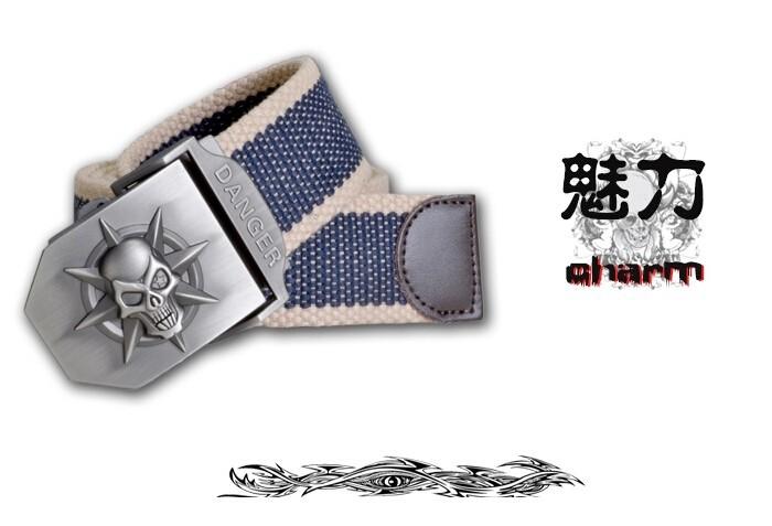 Fashion men's Canvas belt skull Metal tactics woven belt canvas belt Casual pants Cool wild gift for men belts Skull large size 20