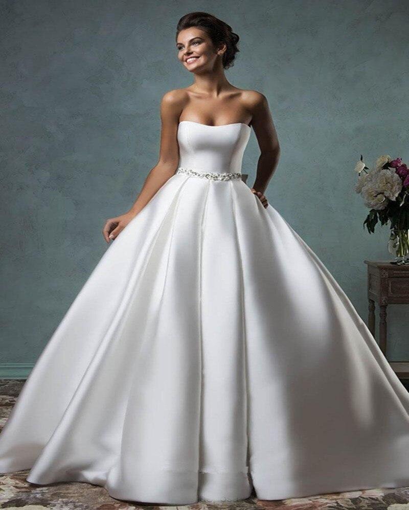 buscar disfruta de un gran descuento siempre popular Simple Sin Tirantes de Raso Blanco Vestido de Novia Con El ...